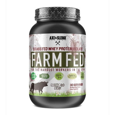 Axe & Sledge FarmFed Protein 30 Servings | Grass Fed Whey Protein Isolate Protein Powders AXE & SLEDGE COOKIES AND CREAM  (1812332412971)