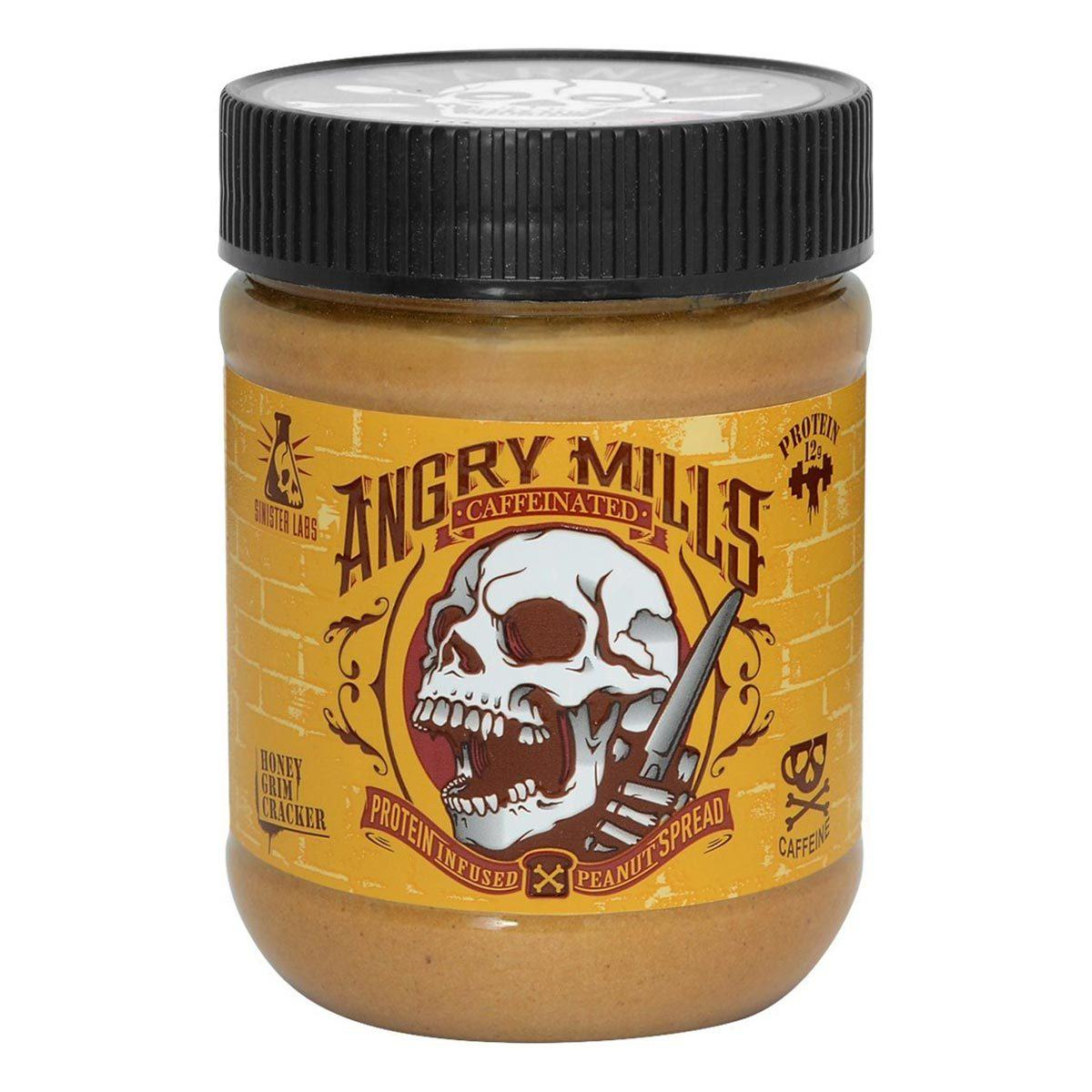 Sinister Labs Angry Mills Caffeinated Protein Infused Peanut Butter Spread Honey Grim Cracker Foods & Snacks Sinister Labs  (1059326099499)
