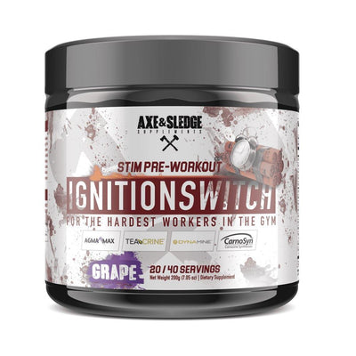 Axe & Sledge Ignition Switch 40 Servings | Stim Pre-Workout Sports Performance Recovery AXE & SLEDGE STIM GRAPE  (1812332576811)