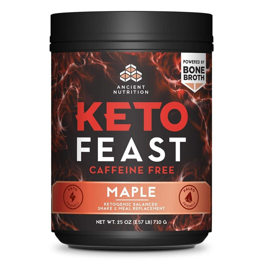 Keto Feast 15 Servings Meal Replacement Powders Ancient Nutrition Caffeine Free Maple  (1556674248747)