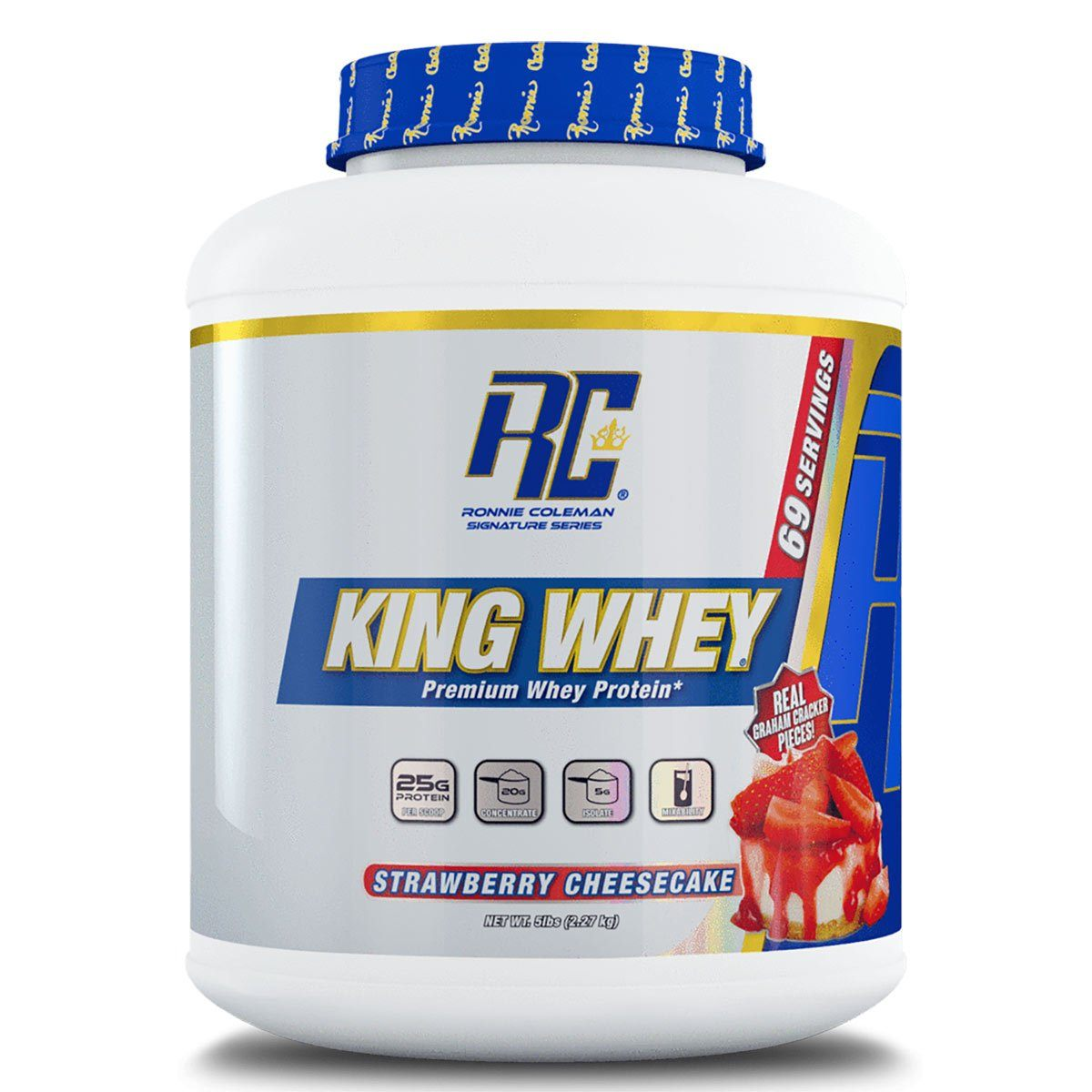 King Whey 5Lbs Protein Powders Ronnie Coleman Signature Strawberry Cheesecake  (1470461214763)