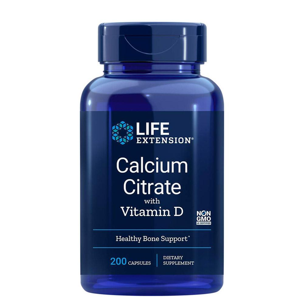 Life Extension Calcium Citrate with Vitamin D 200 Vege Caps Minerals Life Extension  (1058264383531)