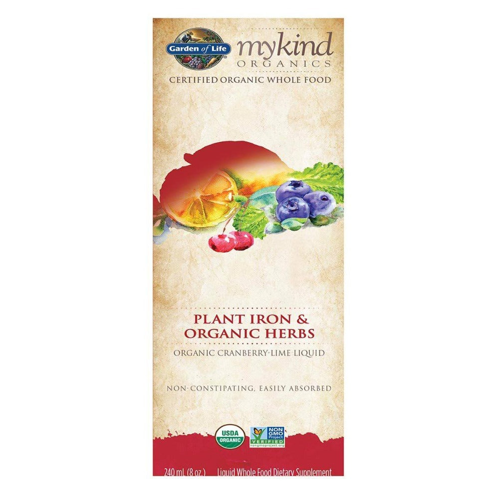Garden of Life My Kind Organics Plant Iron & Organic Herbs Cranberry-Lime 8oz Herbs Garden of Life  (1059208790059)