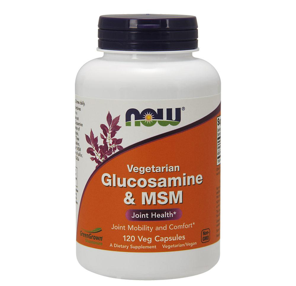 Now Foods Veg Gluc & MSM 500/500 120 Vegetable Capsules Joint Aids Now Foods  (1059112255531)