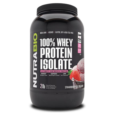 NutraBio 100% Whey Protein Isolate 2lb Protein Powders NutraBio Strawberry Ice Cream  (4371455672385)