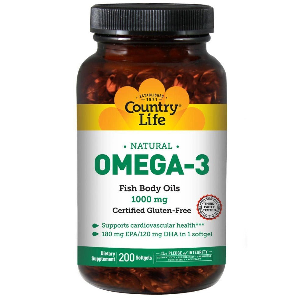 Country Life Omega-3 Fish Oil 1000mg 200 Softgels Omega Fatty Acids / EFAs Country Life  (1058782543915)