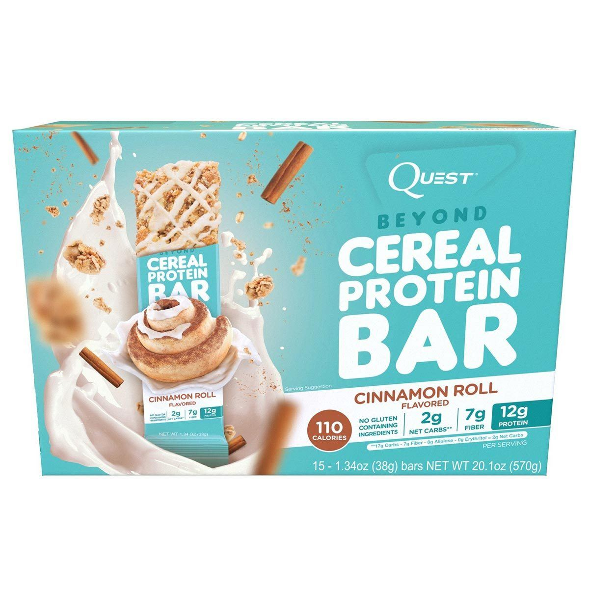 Quest Nutrition Cereal Protein Bar 15/Box Foods & Snacks Quest Nutrition Cinnamon Roll  (1059257778219)