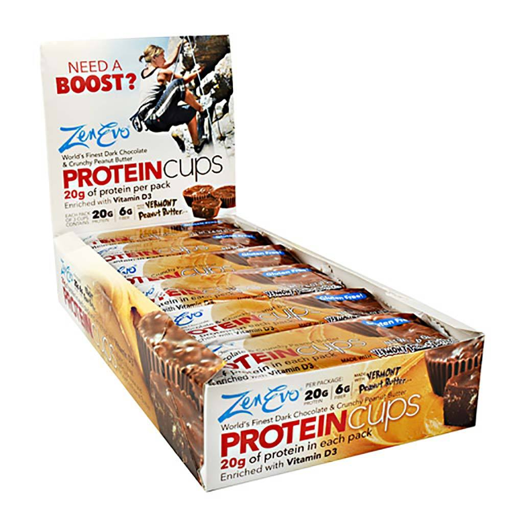 Zenevo Protein Cups/12 Box Foods Juices Zenevo DARK CHOCOLATE AND CRUNCHY PEANUT BUTTER  (1565486088235)