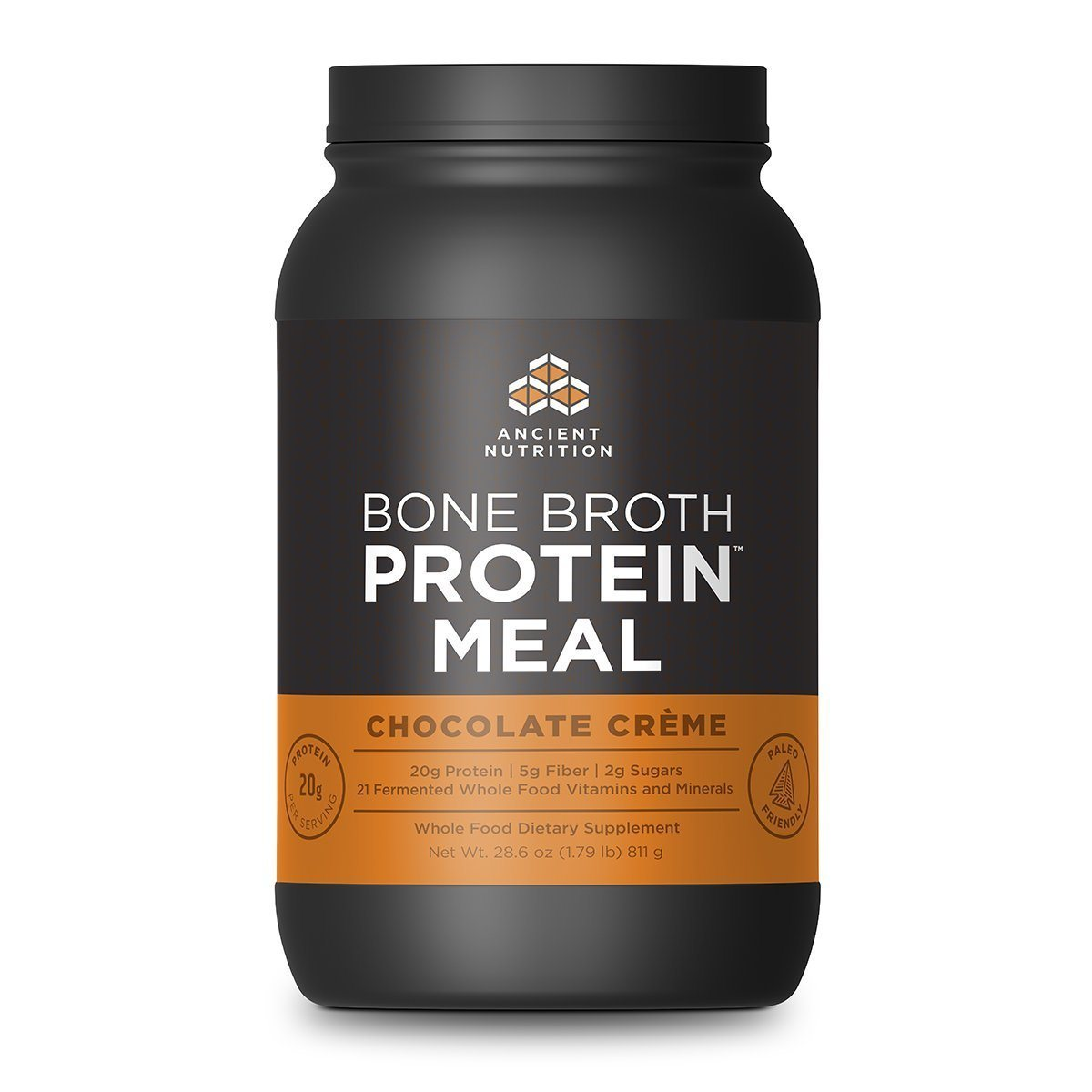 Ancient Nutrition Bone Broth Protein Meal 20 Servings Protein Ancient Nutrition Chocolate  (1059284910123)