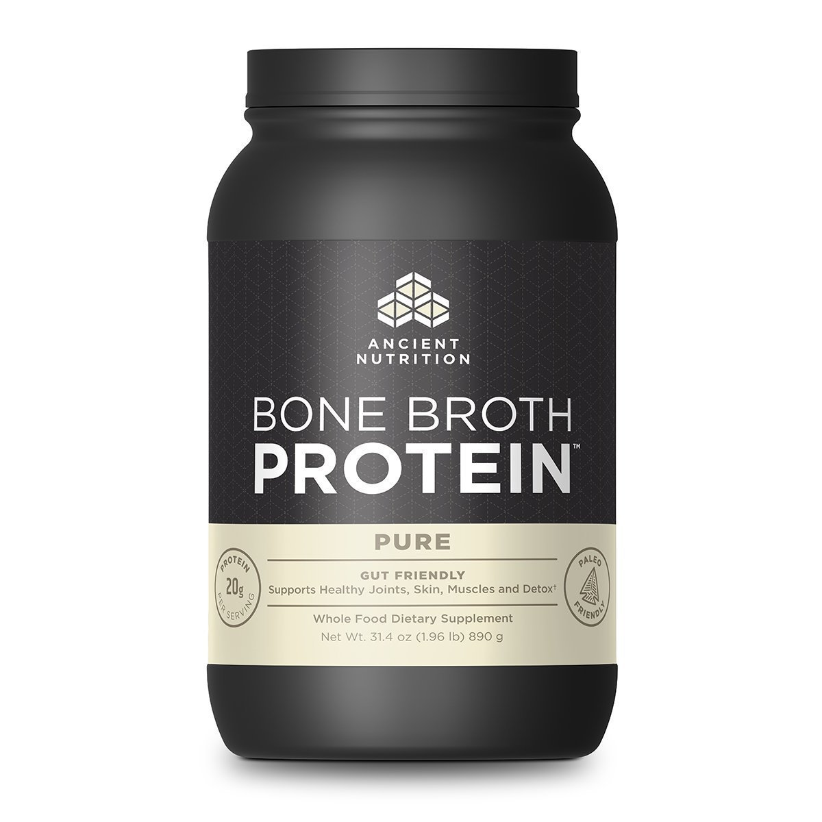Ancient Nutrition Bone Broth Protein 40 Servings Protein Ancient Nutrition Unflavored  (1059285106731)