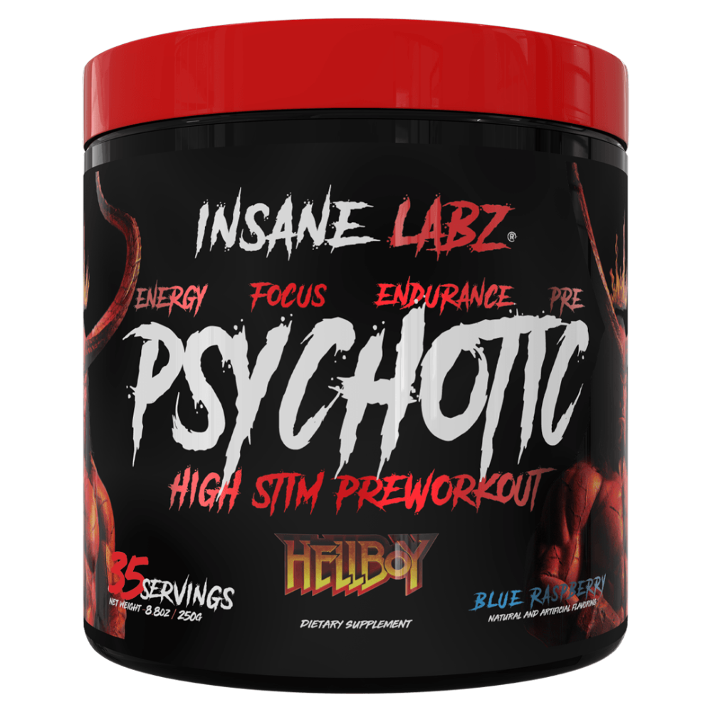Insane Labz Psychotic HellBoy Edition 35 Servings Sports Performance Recovery Insane Labz Blue Raspberry  (1747100237867)