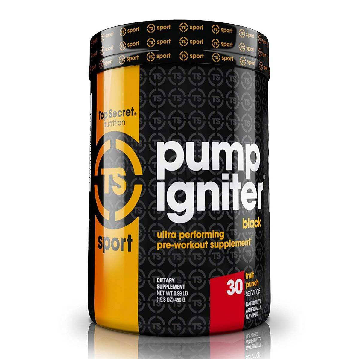 Pump Igniter Black 30 Servings Nitric Oxide Top Secret Nutrition Fruit Punch  (1529911509035)