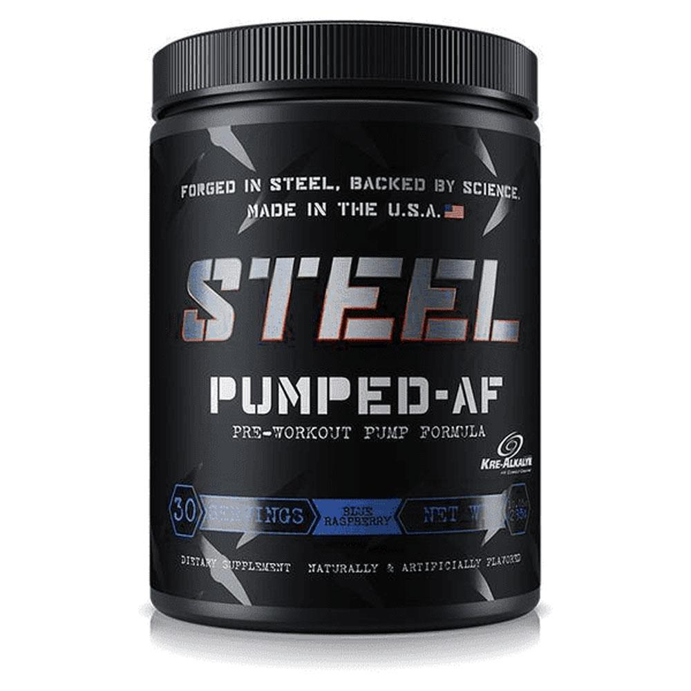 Steel Pumped-AF 30 Servings Sports Performance Recovery STEEL Blue Raspberry  (1838612414507)