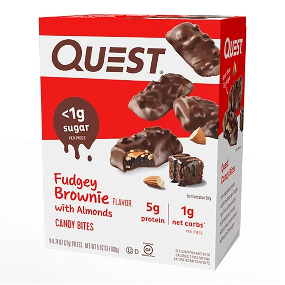 Quest Candy Bites 8/Box Bars Quest Nutrition Fudgey Brownie with Almonds