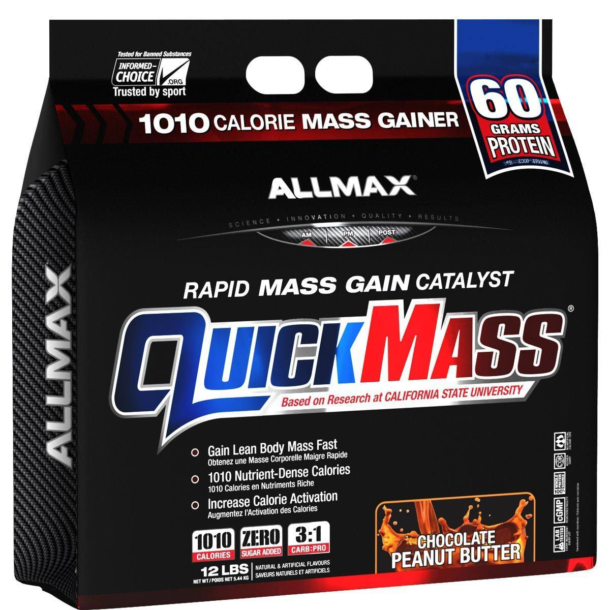 Allmax Nutrition QuickMass Loaded 12 Lbs Protein Allmax Nutrition Chocolate Peanut Butter  (1058610348075)