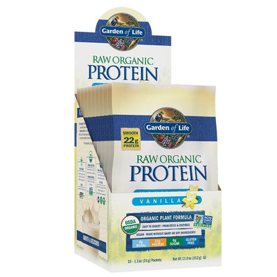 Garden of Life Raw Organic Protein Packets 10/Box Protein Garden of Life Vanilla  (1058757705771)