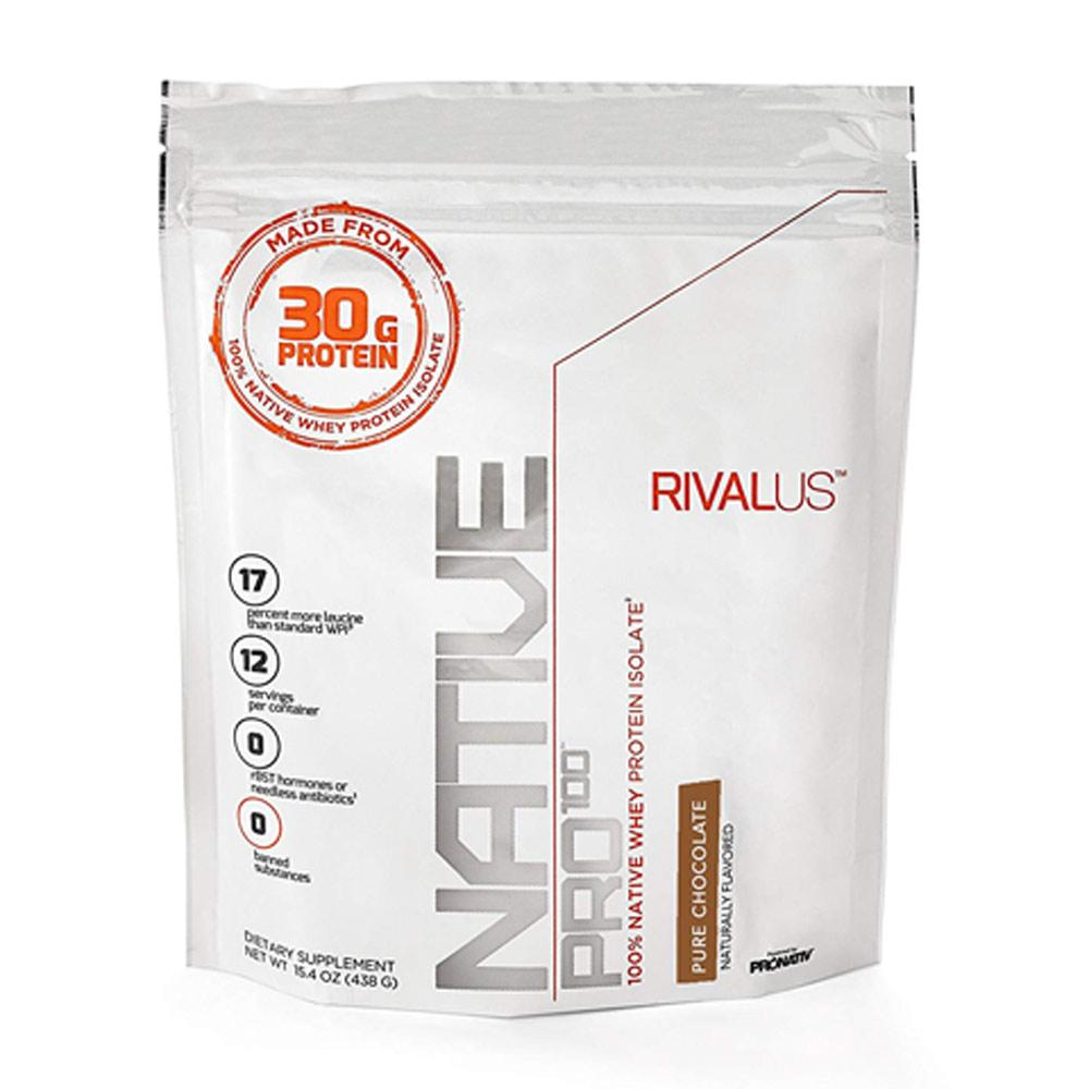 Rivalus Native Pro 100 Pure Chocolate 15.4oz Protein Powders Rivalus  (1722639548459)