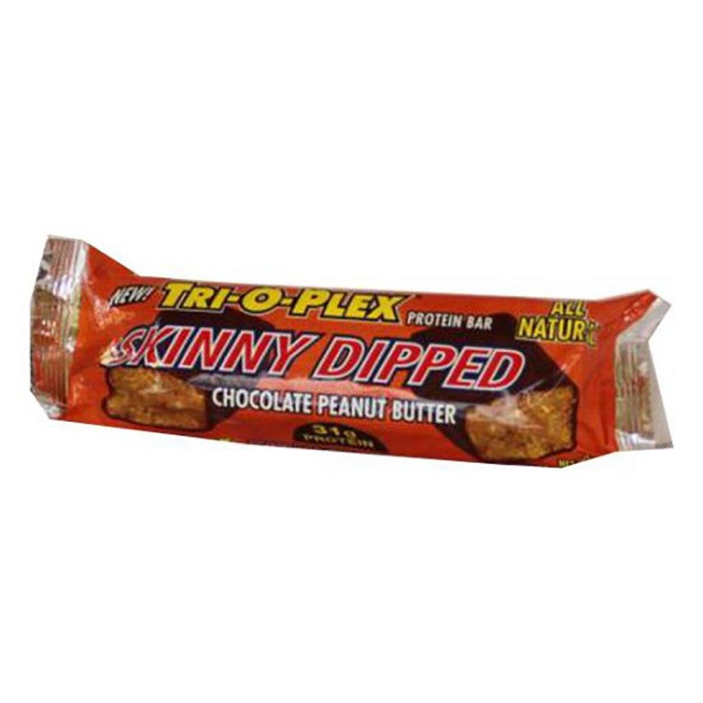 Chef Jay's Tri-O-Plex Skinny Dipped Bar Chocolate Peanut Butter 12 - 3.5oz (100g) Bars Protein Chef Jay's  (1058914205739)