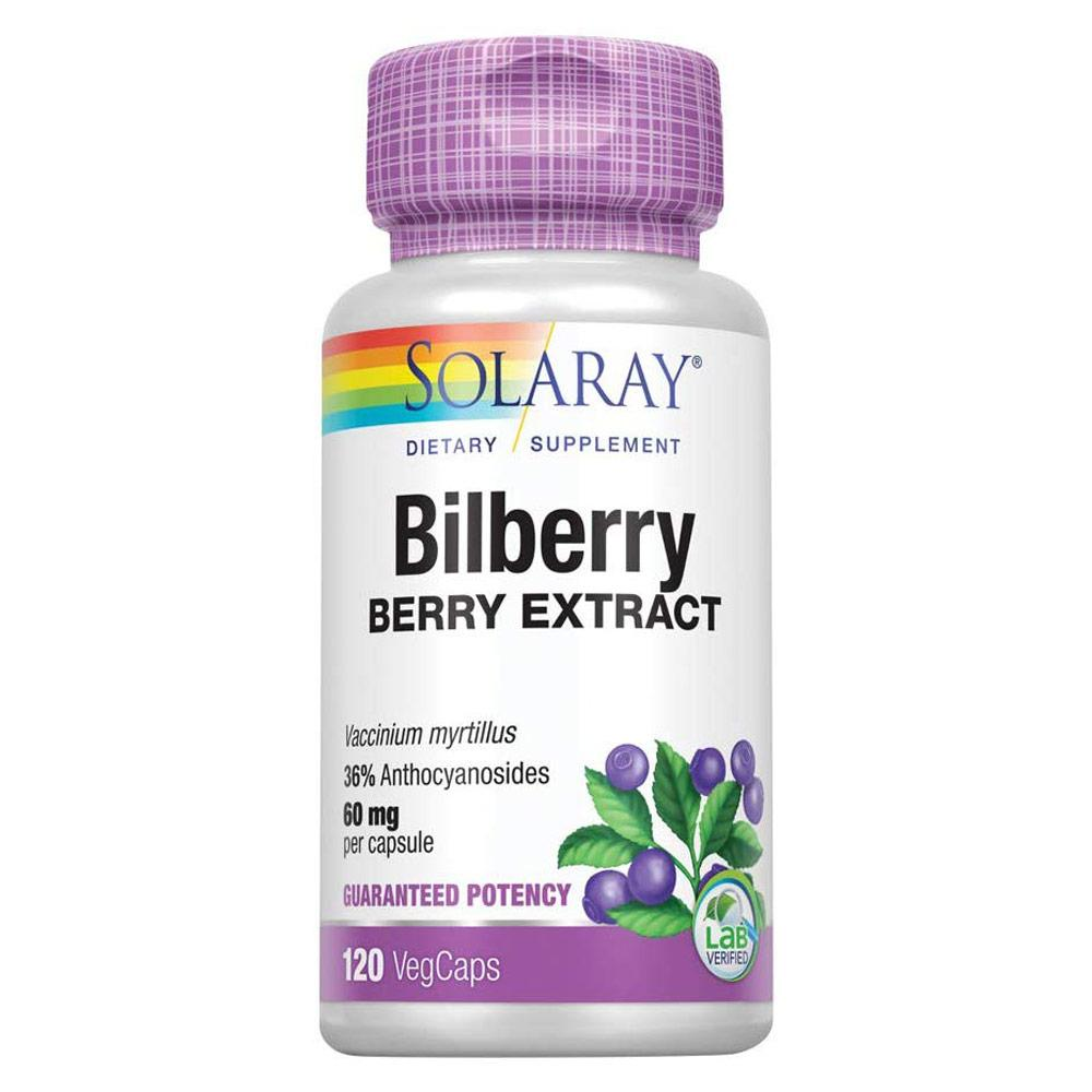 Solaray Bilberry Berry Extract 60mg 120 Capsules Herbs Solaray  (4337813160001)