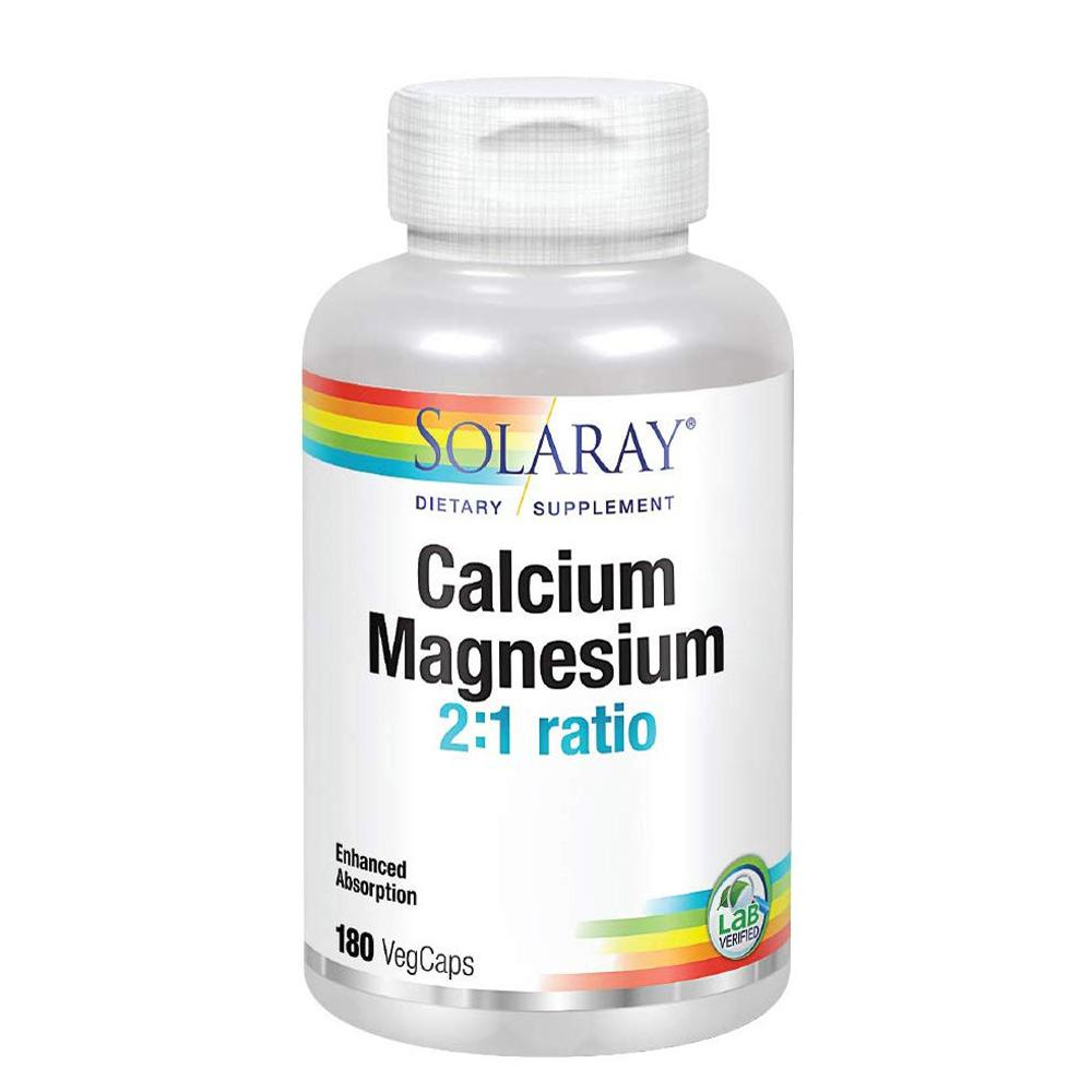 Solaray Calcium and Magnesium 1000mg/500mg 180 caps Minerals Solaray  (1057897513003)