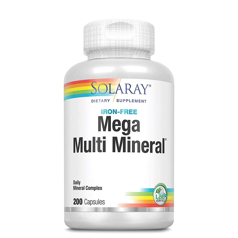 Solaray Mega Multi Mineral Iron Free 200 Caps Minerals Solaray  (1058080423979)