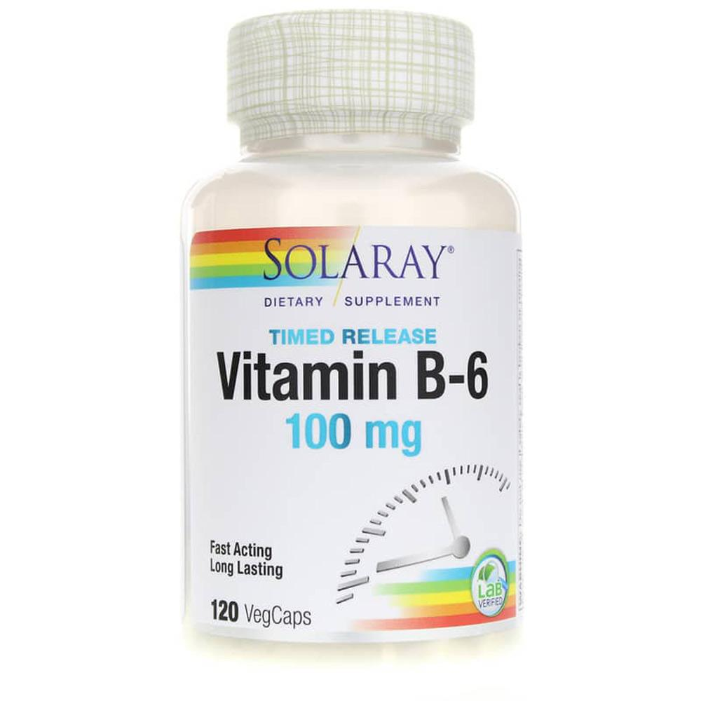 Solaray Vitamin B-6 Two Stage Time Release 100mg 60 caps Vitamins Solaray  (1058061385771)