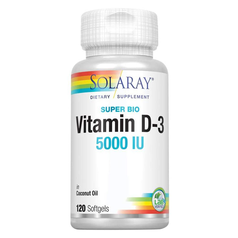 Solaray Vitamin D3 5000iu 120SG in Coconut Oil Vitamins & Minerals Solaray  (4601079889985)