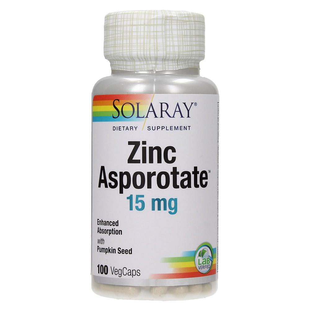 Solaray Zinc Asporotate 15mg 100vc Vitamins & Minerals Solaray  (4522263609409)