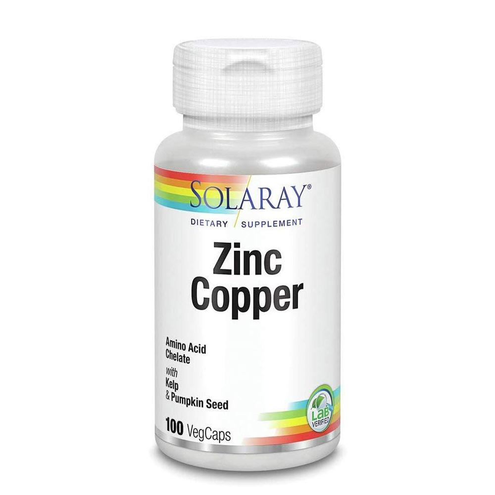 Solaray Zinc Copper 100 Capsules Vitamins & Minerals Solaray  (1801578414123)