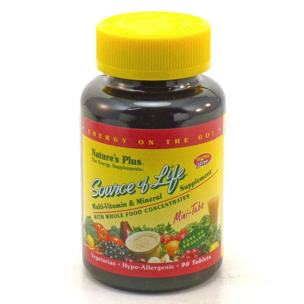 Nature's Plus Source of Life Multi Vitamin and Mineral Mini-Tabs 90 Tabs Vitamins Nature's Plus  (1057910718507)