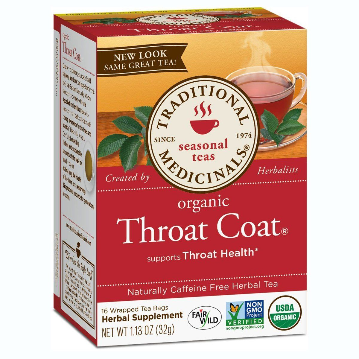 Traditional Medicinals Throat Coat Tea 16 Bags Teas Traditional Medicinals  (1058031796267)