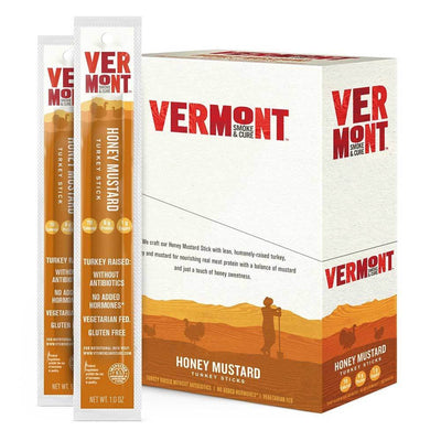 Vermont Meat Sticks 24/Box Foods Juices Vermont Smoked Meats Honey Mustard  (1797584617515)