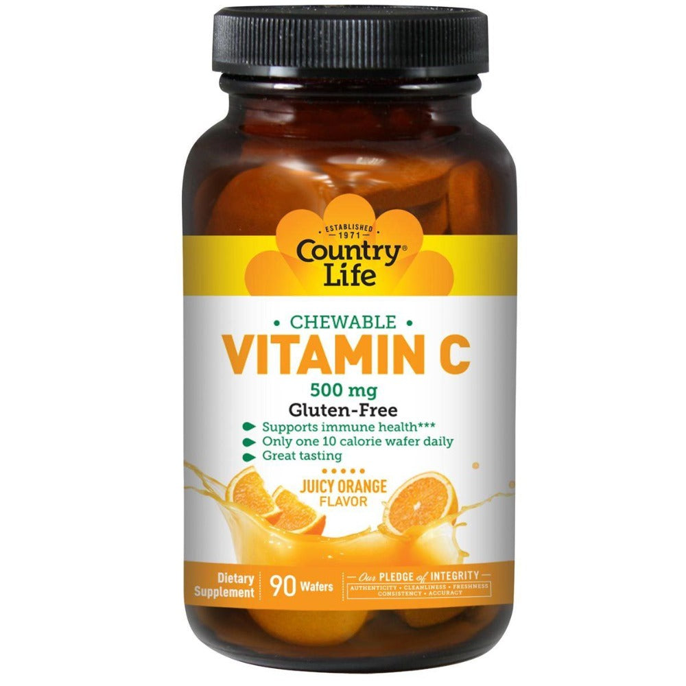 Country Life Vitamin C Wafer (Chewable Orange Juice) 500mg 90 Wafers Vitamins Country Life  (1057874935851)