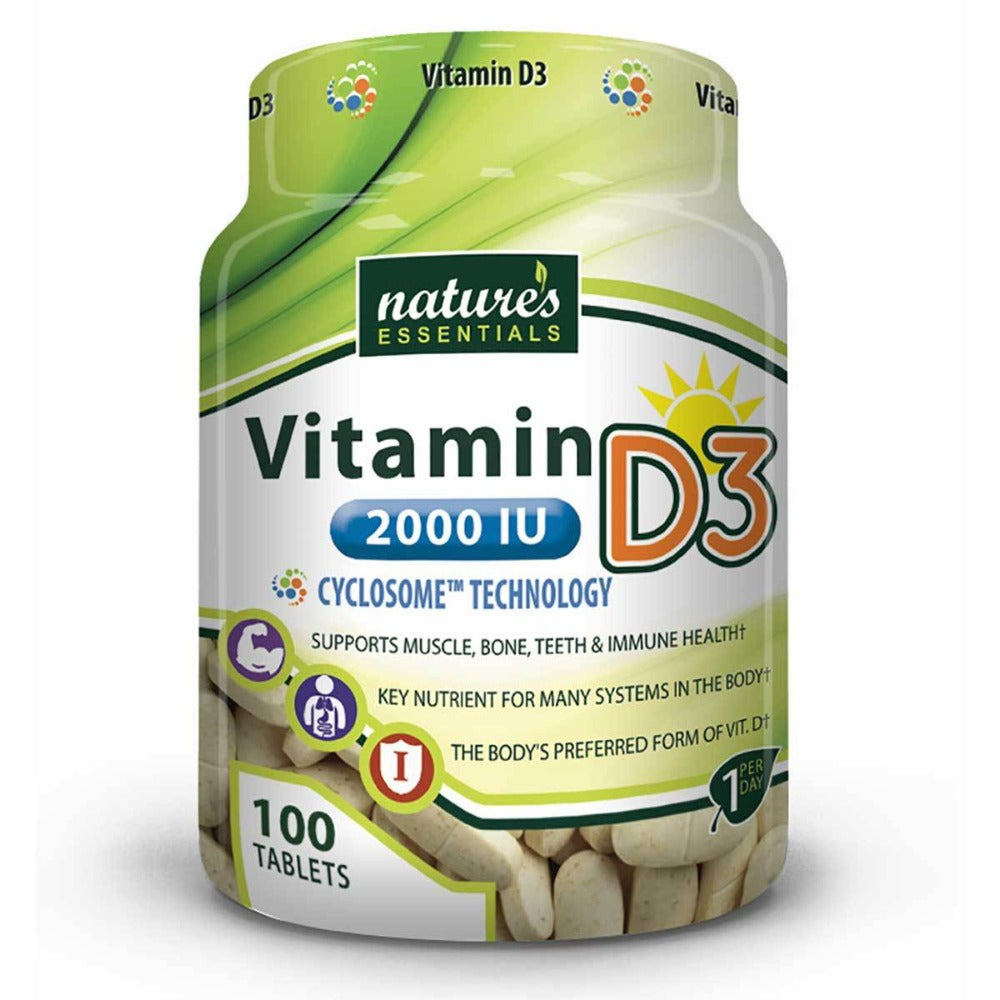 Nature's Essentials Vitamin D3 2000IU 100 Tablets Vitamins Nature's Essentials  (1059295232043)