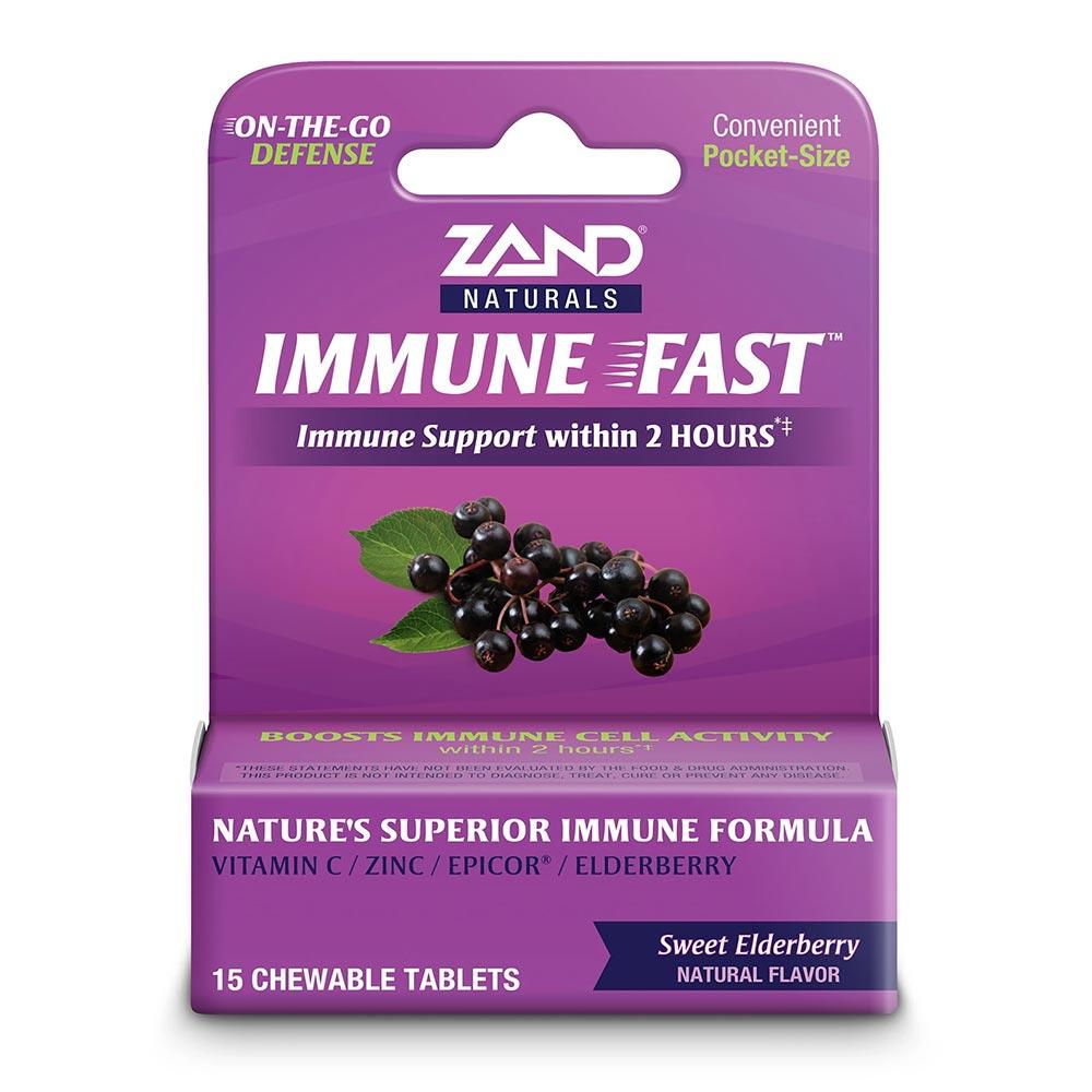 Zand Immune Fast Elderberry 15 Chewable Tablets Herbs Zand  (4594715492417)