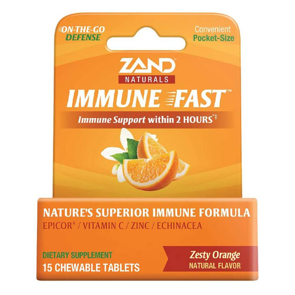 Zand Immune Fast Zesty Orange 15 Chewable Tablets Herbs Zand