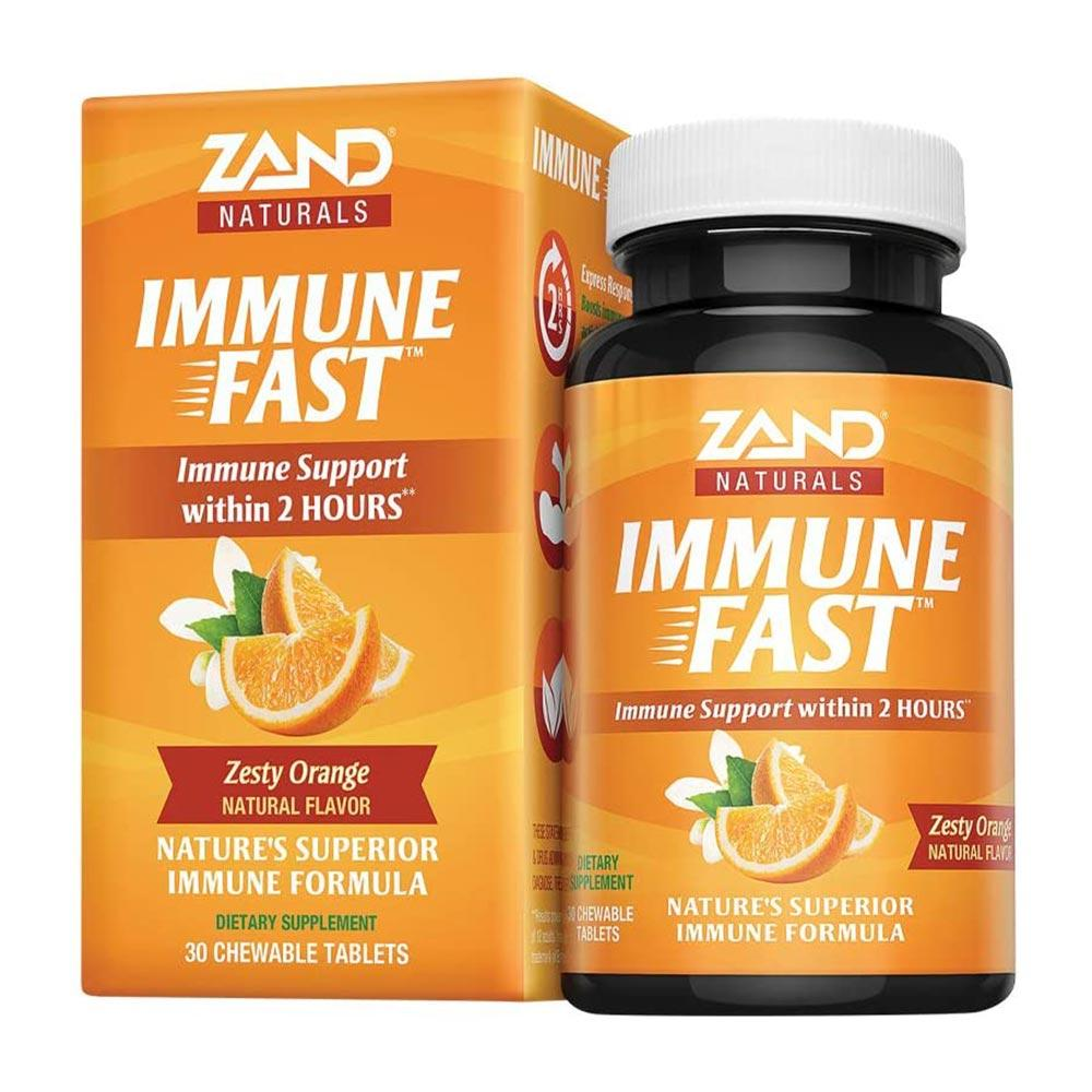 Zand Immune Fast Zesty Orange 30 Chewable Tablets Vitamins & Minerals Zand  (4594717622337)