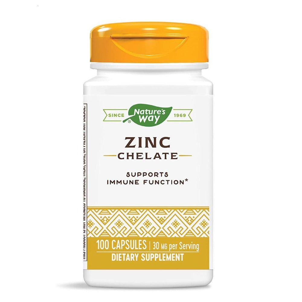 Nature's Way Zinc Chelate 30mg 100 Capsules Vitamins & Minerals Nature's Way  (4479931449409)