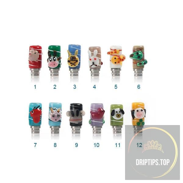 Chinese Zodiac Pattern 510 Art Glass Drip Tips