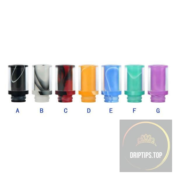 Glass With Colorful Acrylic Insert Two Layers Wide Bore Drip Tips