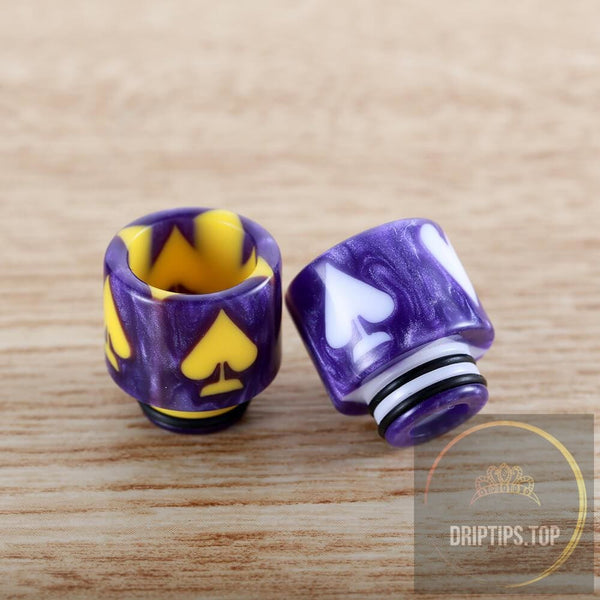 Playing Card Pattern Epoxy Resin 510 Drip Tips With 2 O Rings