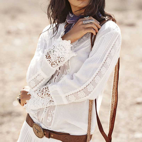 Boho Blouse White Cotton Lace Floral Dress