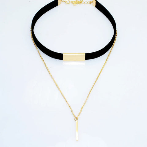Two Layer Leather Choker