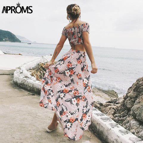 Short Sleeve Summer Maxi Dress Women Boho