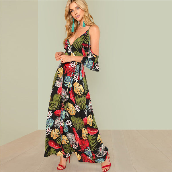 Boho Floral Print Deep V Neck Open Shoulder Maxi Dress
