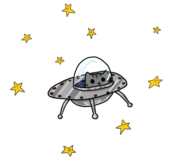 Space kitty in a UFO