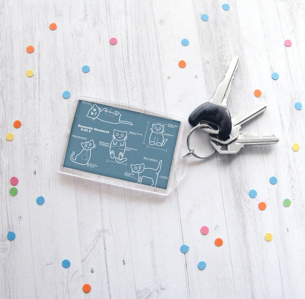 Cat Blueprints Keychain