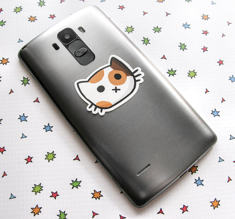 Calico Cat Face Vinyl Sticker