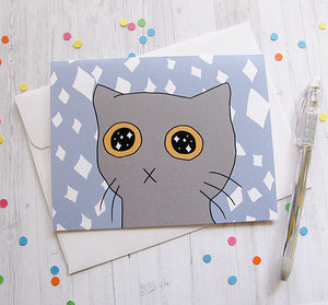 Starry Eyed Kitty Greeting Card