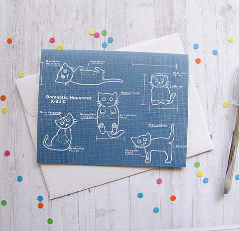 Cat Blueprints Greeting Card